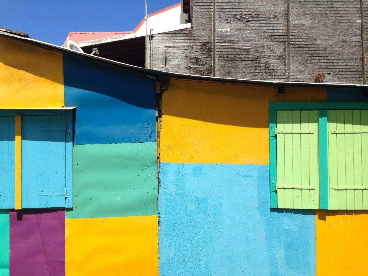 carré, tôles, pixel, façades, composition, guadeloupe, deshaies, photographie