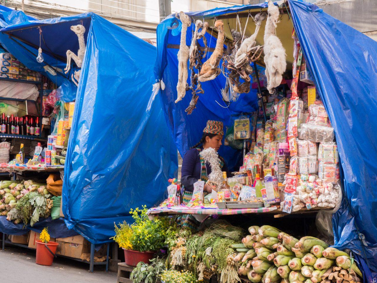 photo bolivie-chapeau bolivien femme-marché typique de bolivie la paz