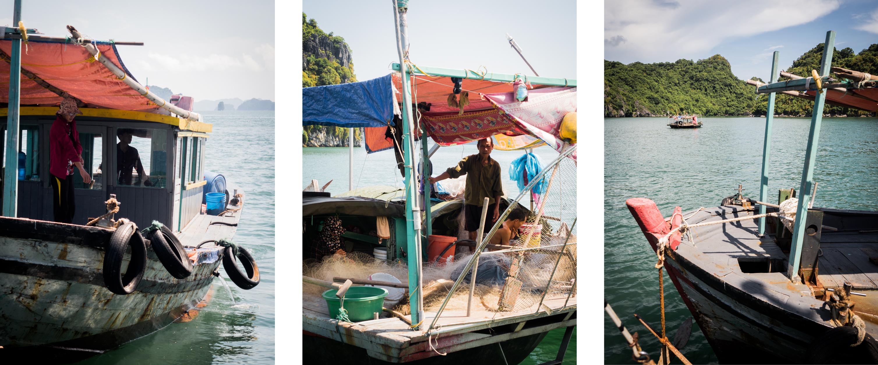 pêcher dans la baie d'halong -vietnam
