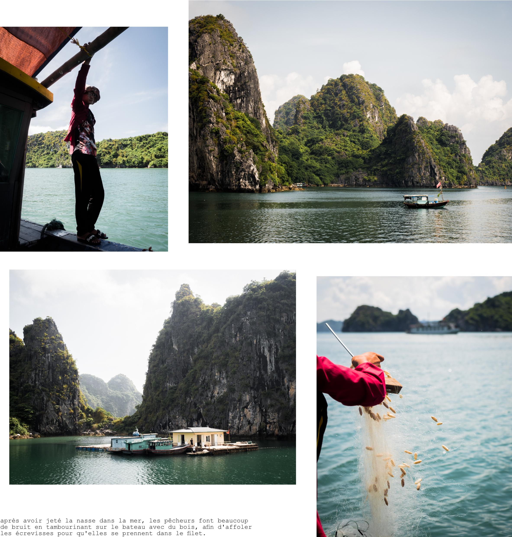 pêcher dans la baie d'halong, vietnam