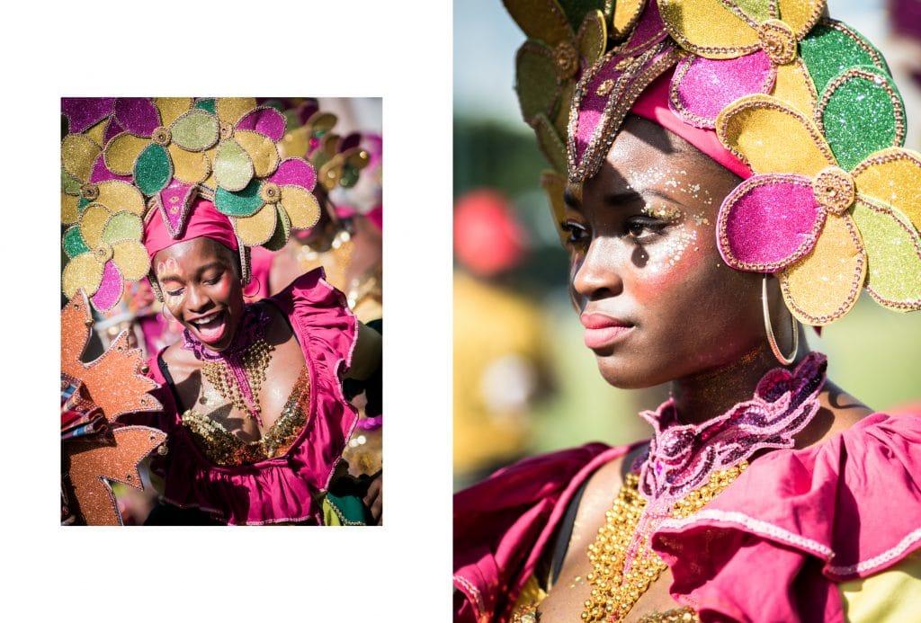 le carnaval de la guadeloupe -  defile carnaval guadeloupe - maquillage carnaval guadeloupe - danseuse carnaval antillais