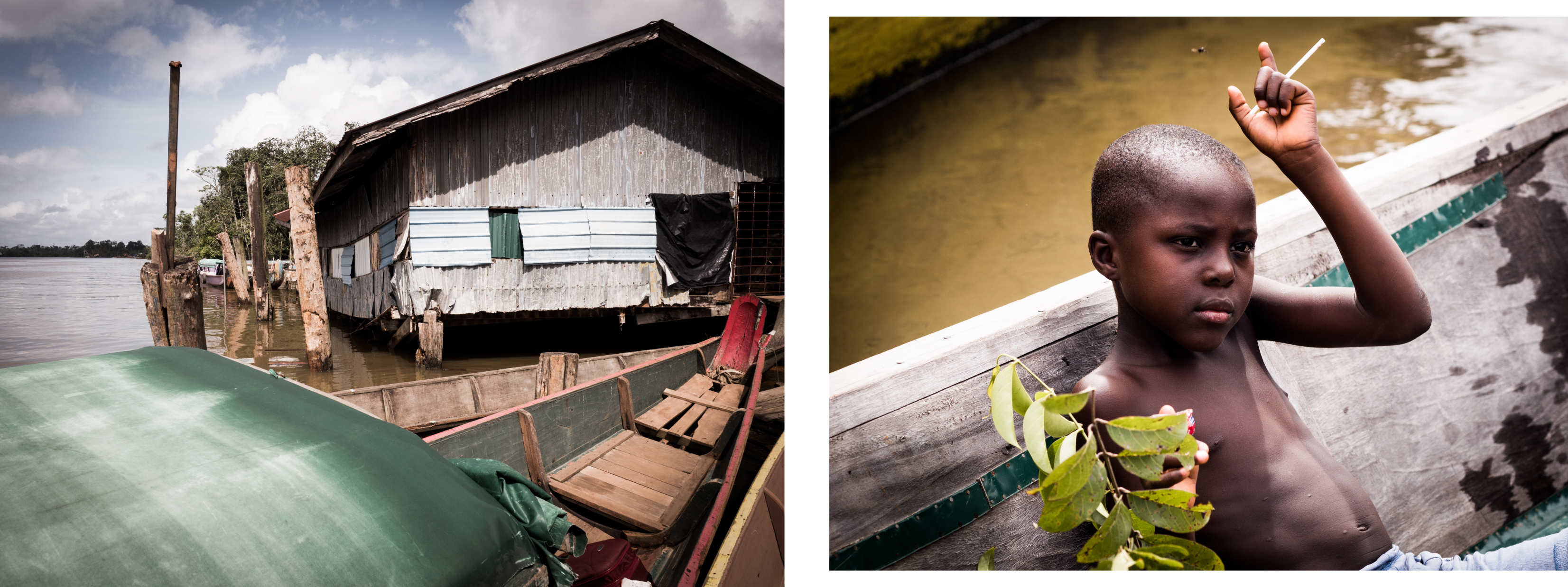 guyane Amazonie - enfant pirogue sur les rives du maroni - fleuve st laurent