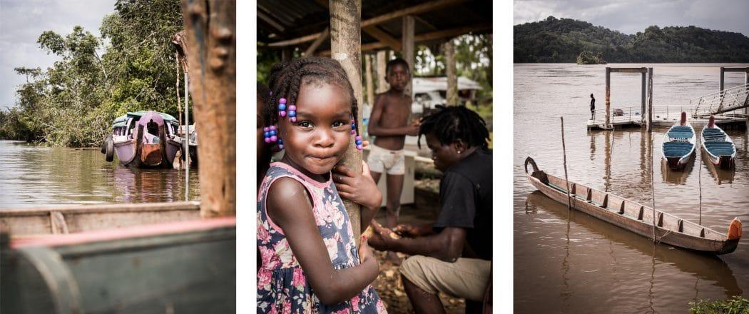 Voyage en Guyane en Amazonie - Pirogues et enfants sur les rives du fleuve SAint Laurent du Maroni
