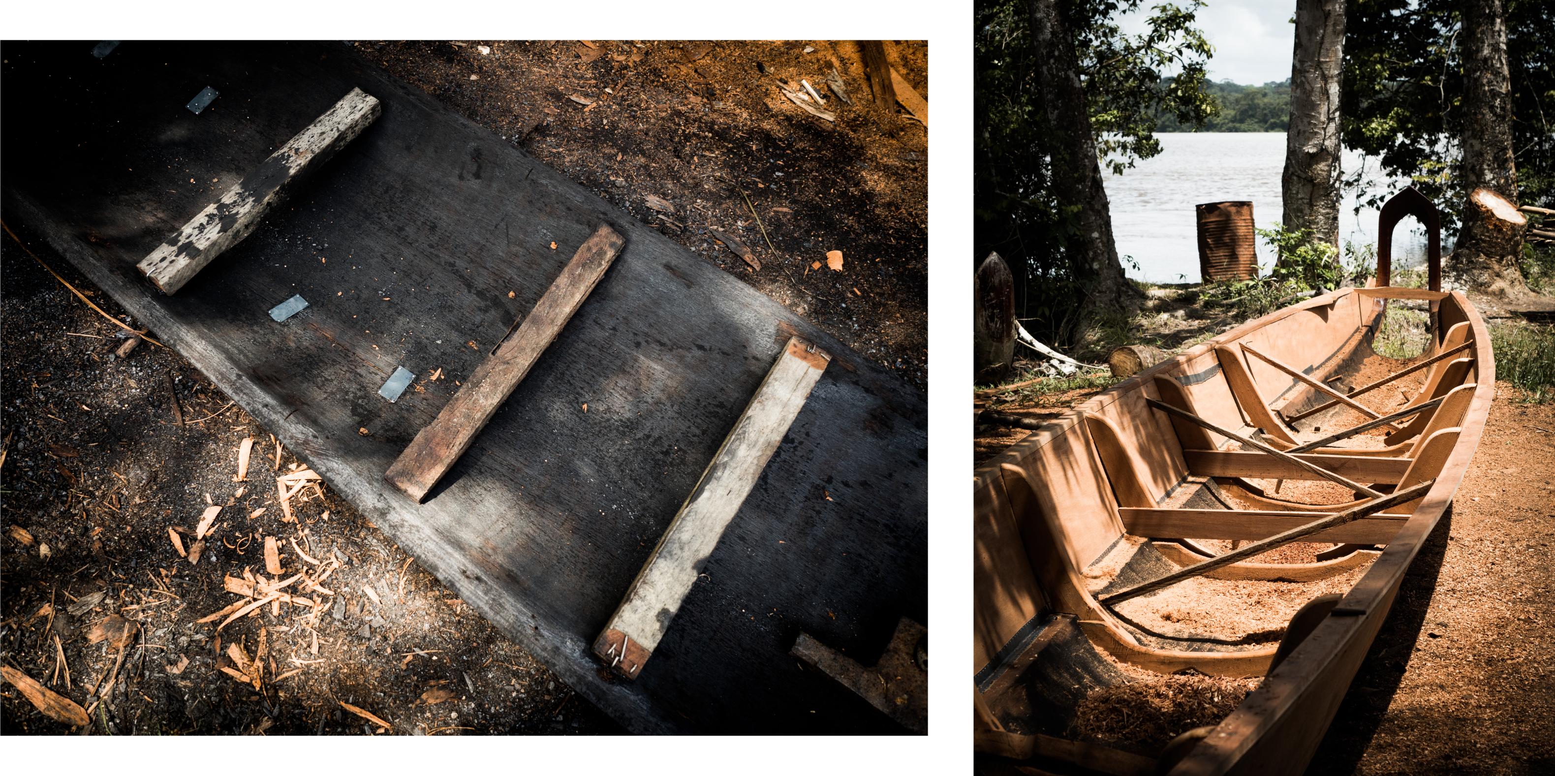 guyane Amazonie - rive du maroni - fleuve st laurent du maroni - construction d'une pirogue