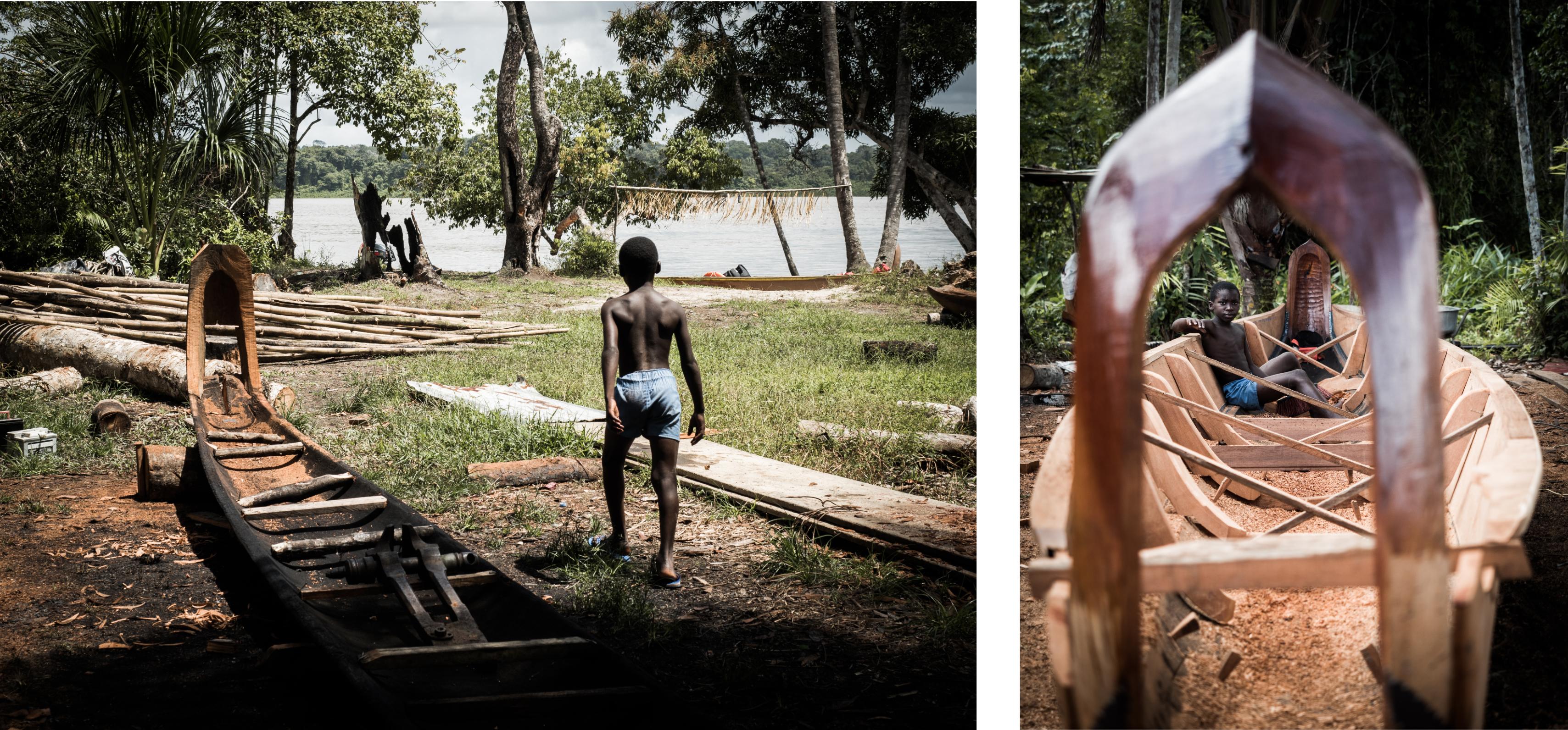 visiter la guyane - fleuve st laurent du maroni - construction d'une pirogue