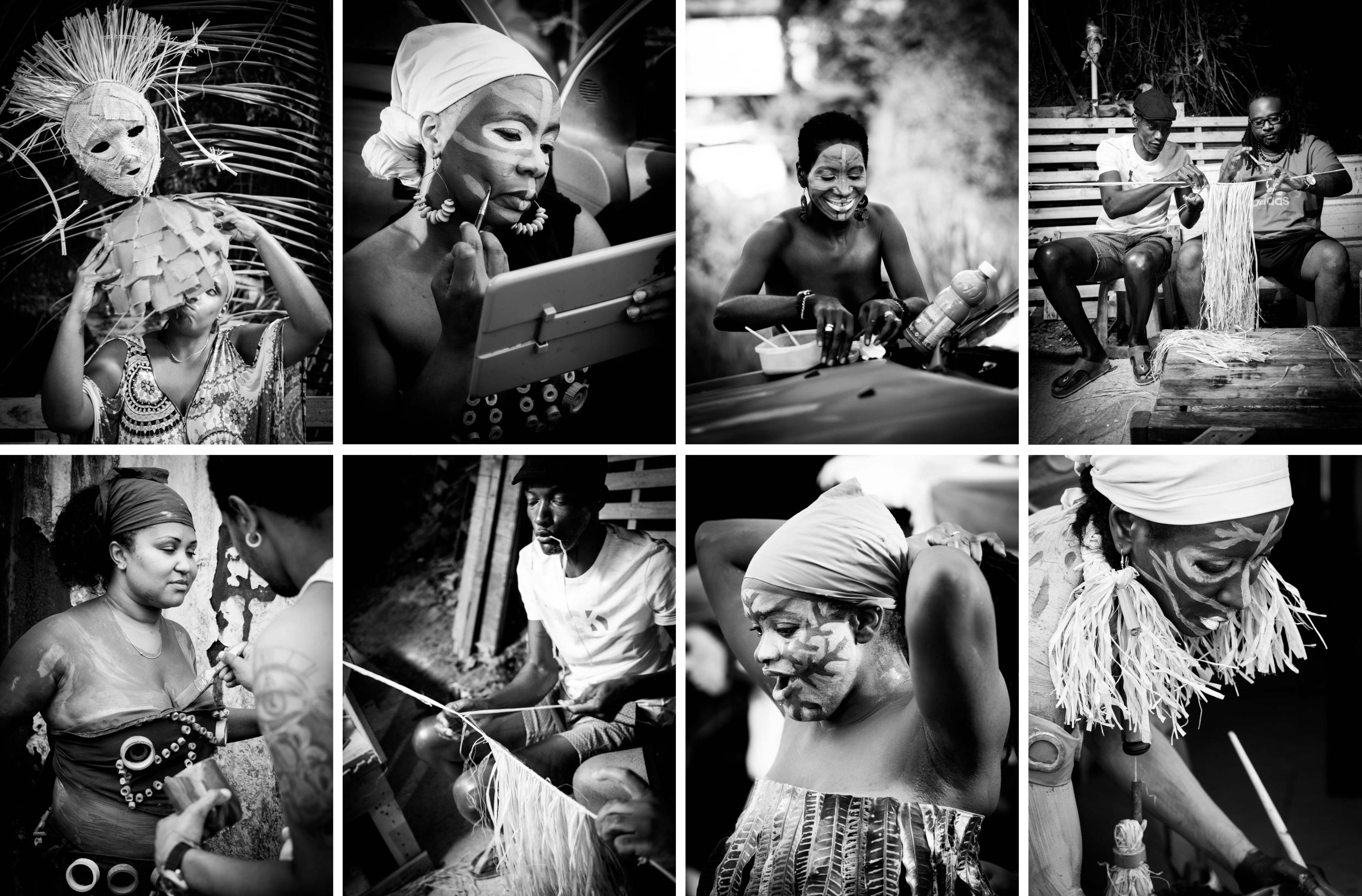 livre de photographies- portraits de carnaval en noir&blanc- carnaval de guadeloupe - livre sur un groupe à po - livre sur le carnaval de guadeloupe