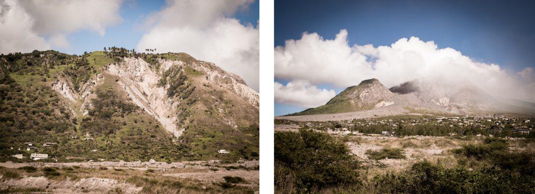 ile de plymouth dans les Antilles- photo du volcan la soufrière dans les nuages en Guadeloupe